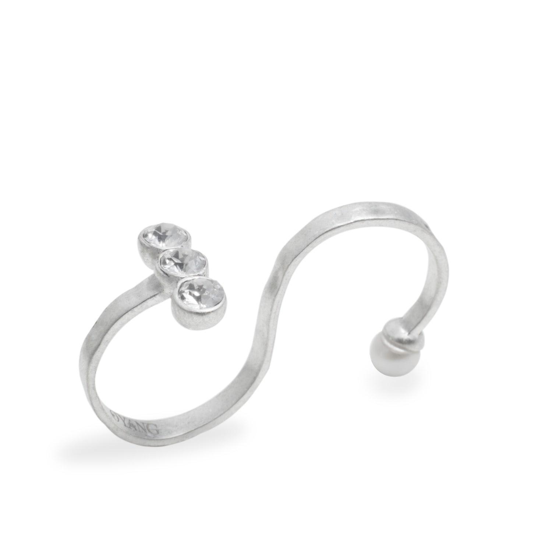 O.yang Mosaic Crystal Ring in Metallic