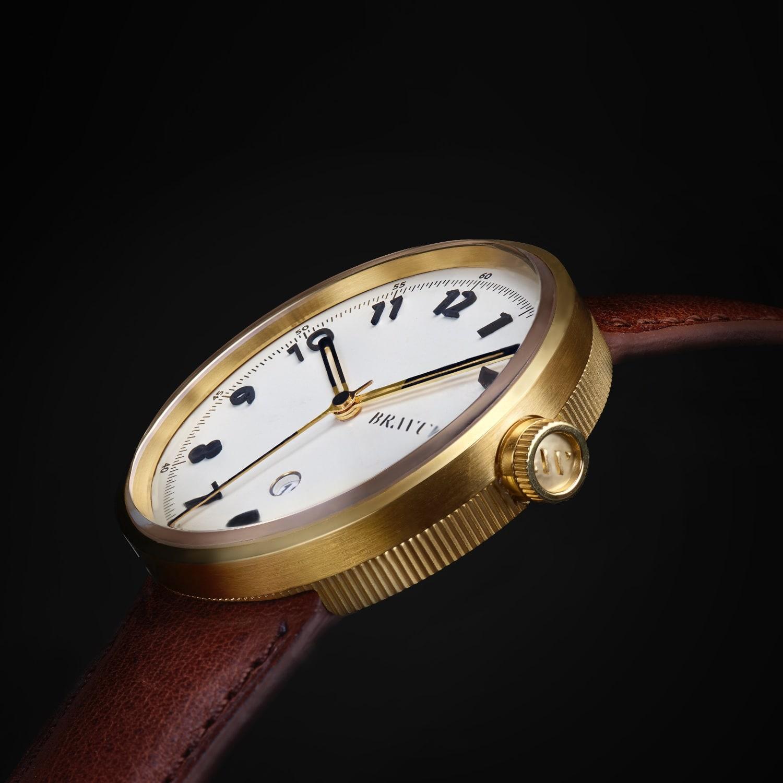 lyst bravur gold case white dial with numerals black strap in black for men. Black Bedroom Furniture Sets. Home Design Ideas