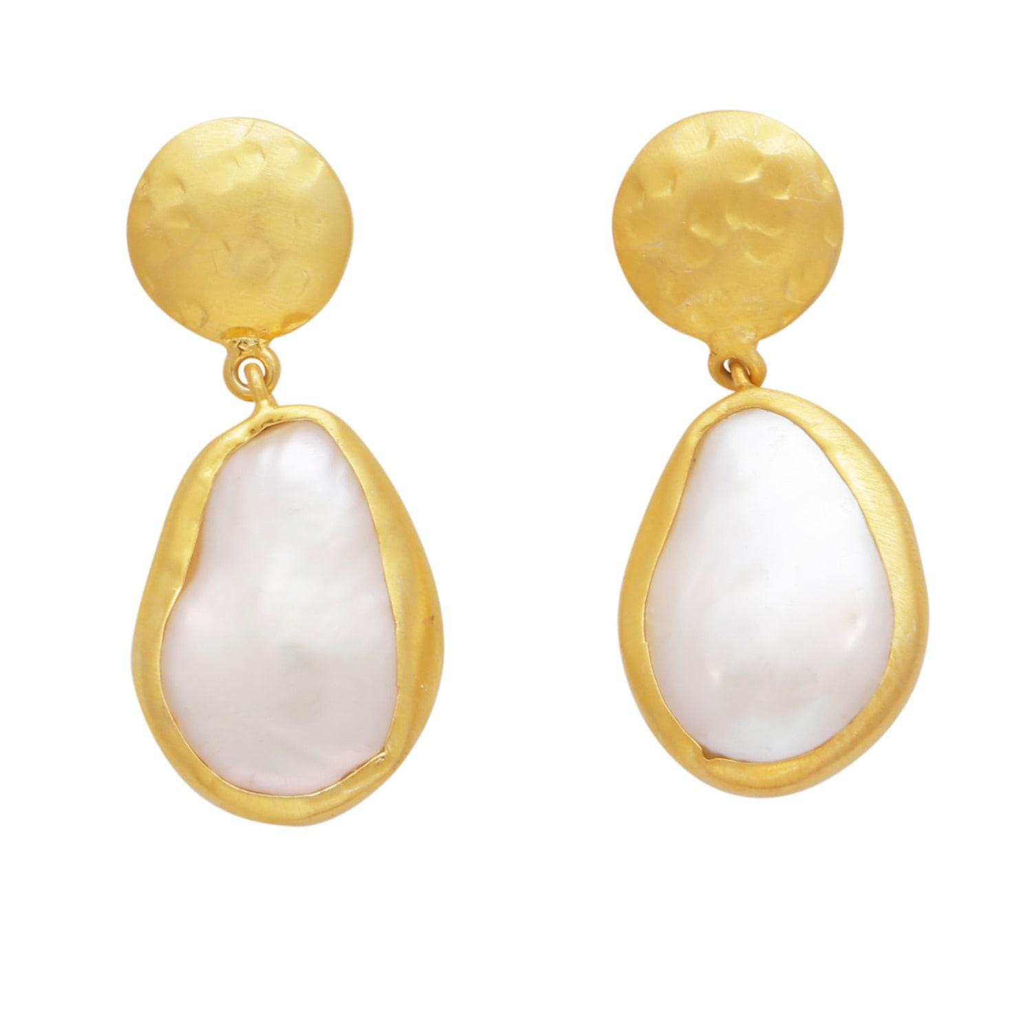 d4b8f2414 Carousel Jewels Pearl And Hammered Gold Nugget Earrings in Metallic ...