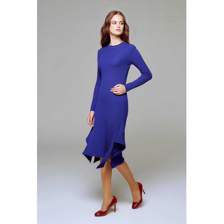 e3a8f4097b9 ... Alexa Asymmetric Ribbed Wool Midi Dress In Royal Blue - Lyst. View  fullscreen