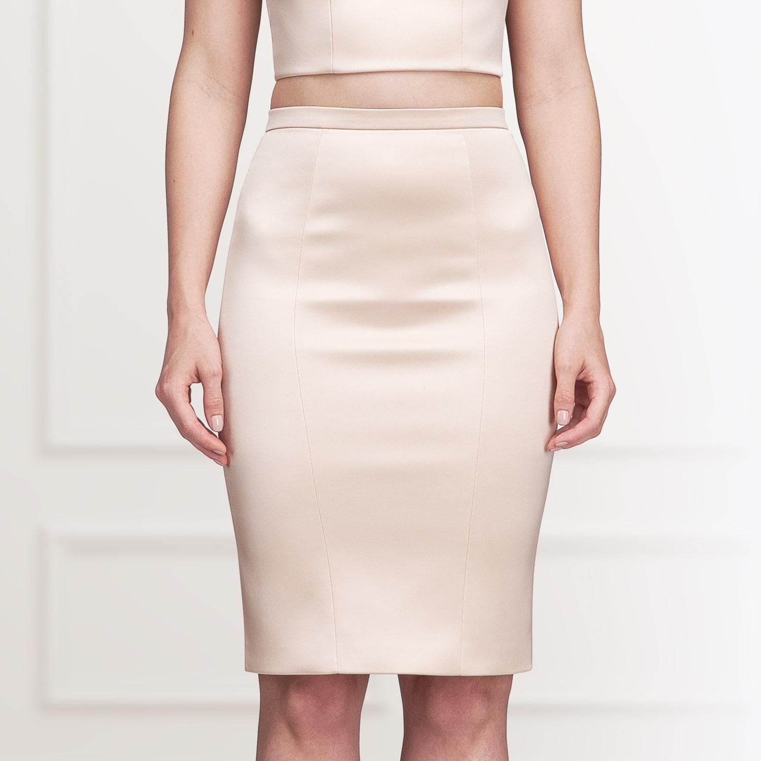 Alice Grace Peach Strapless Crop Top   Pencil Skirt Two Piece Dress ... 23b57b9a3c