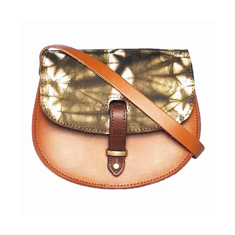 7641c23cfc32 N damus London. Women s Brown Mini Victoria Amaka African Print Leather  Crossbody Saddle Bag