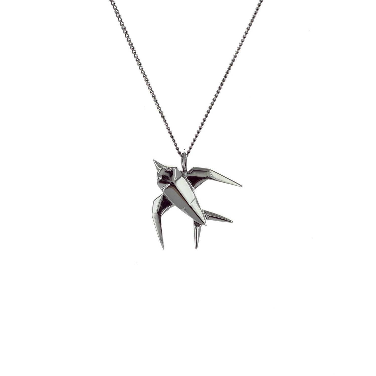 Origami Jewellery Black Silver Swallow Origami Necklace