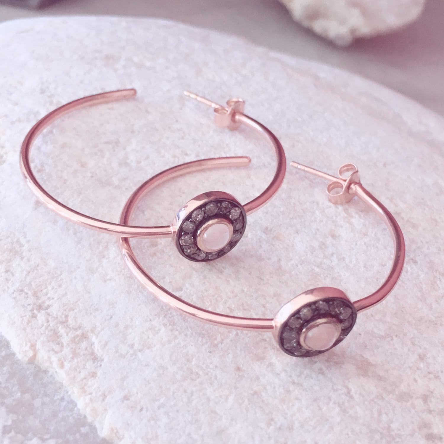 Latelita London Diamond Rose Chalcedony Rose Gold Hoop Earring