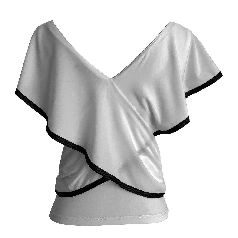 cf5a4aeb16539 Lyst - LEFON New York Crossbody V Neck Shirt Ecru in White
