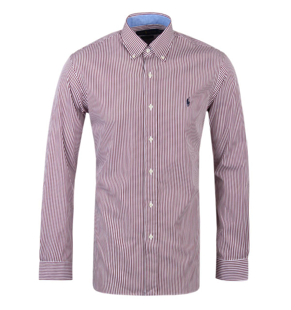Lyst polo ralph lauren ralph lauren burgundy poplin for Burgundy fitted dress shirts