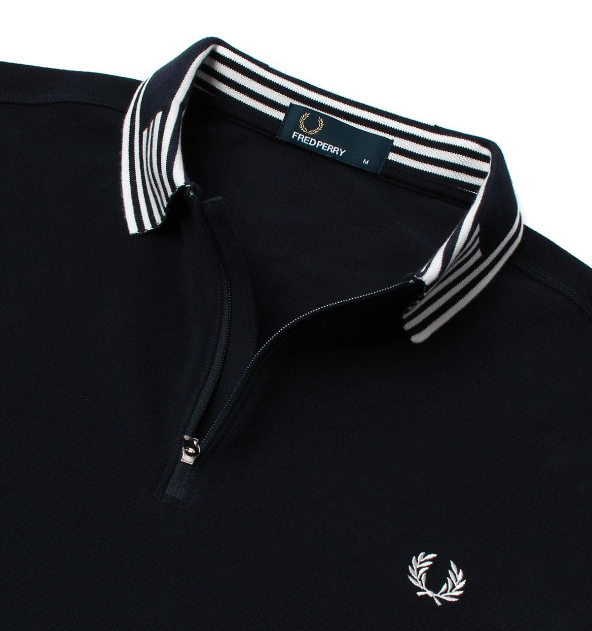 Lyst Fred Perry Navy Striped Collar Pique Polo Shirt In