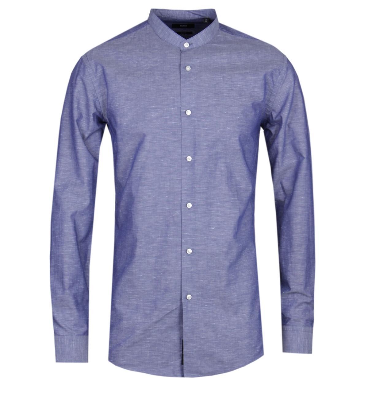 0199480ce Lyst - BOSS Jordi Slim Fit Navy Grandad Shirt in Blue for Men