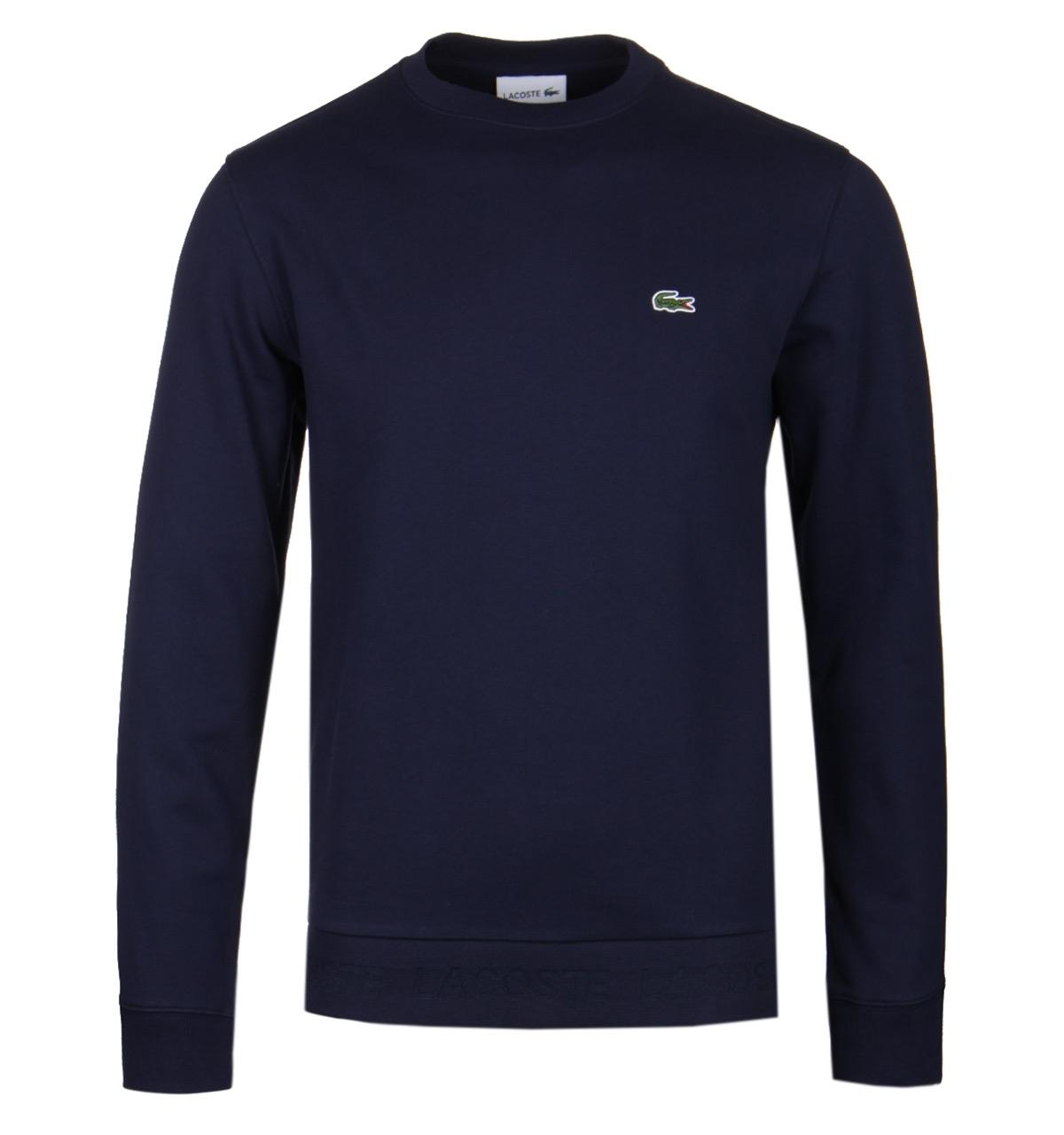 153646682 Lacoste Crew Neck Logo Hem Navy Sweatshirt in Blue for Men - Lyst