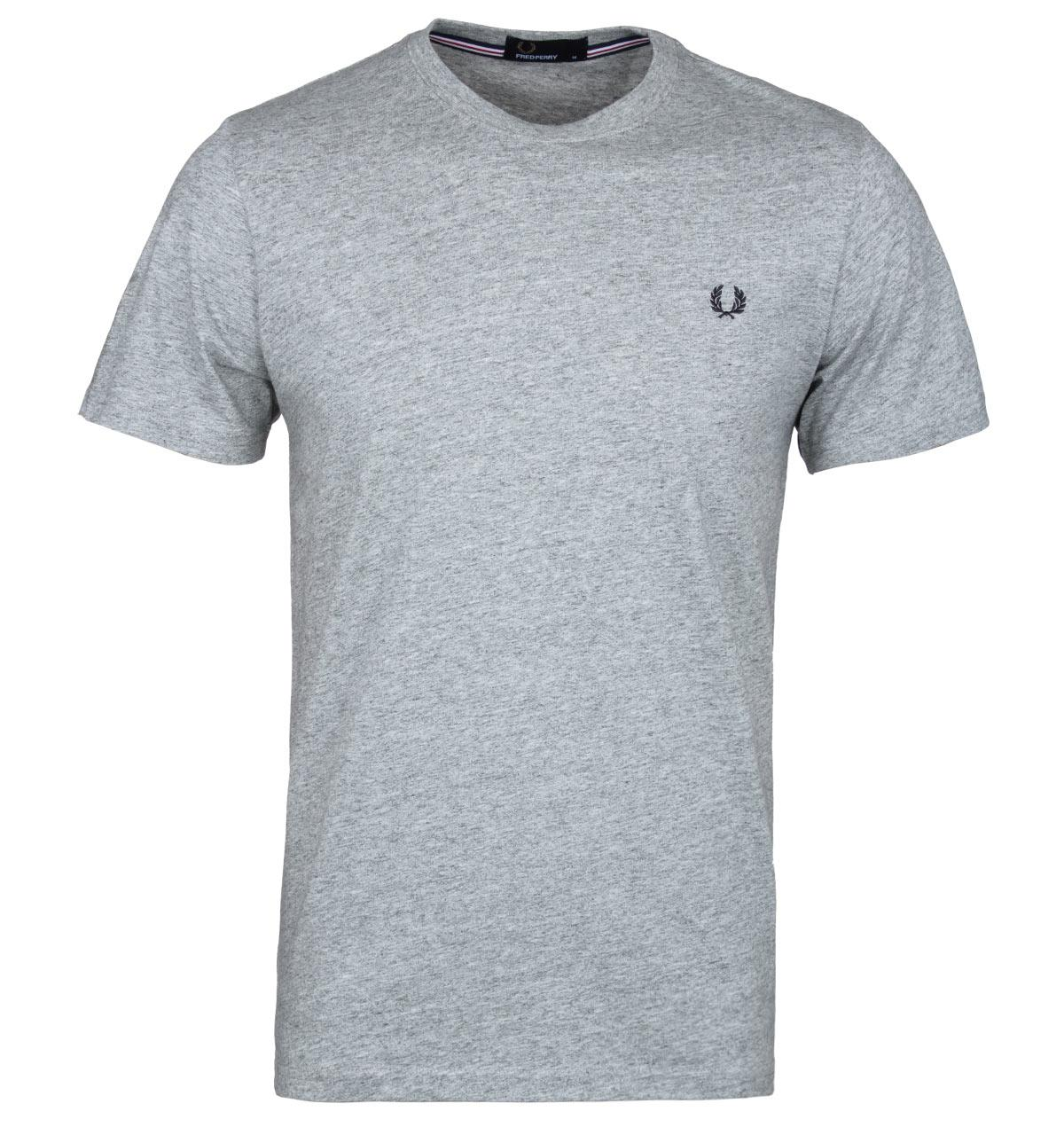 Lyst fred perry steel grey marl crew neck t shirt in for Grey marl t shirt