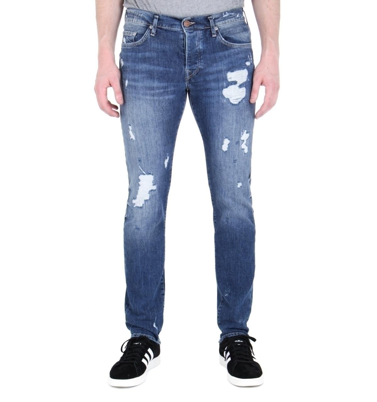c08e7113e2a Lyst - True Religion Rocco Relaxed Skinny Destroyed Denim Blue Jeans ...