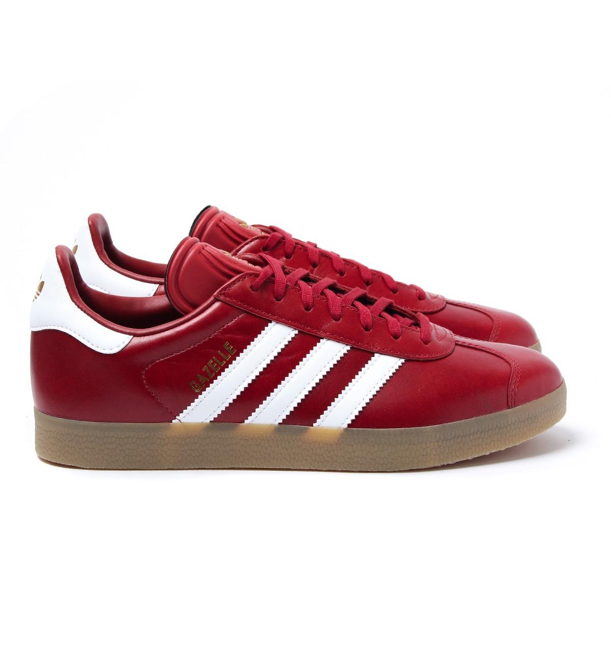 red leather adidas gazelle