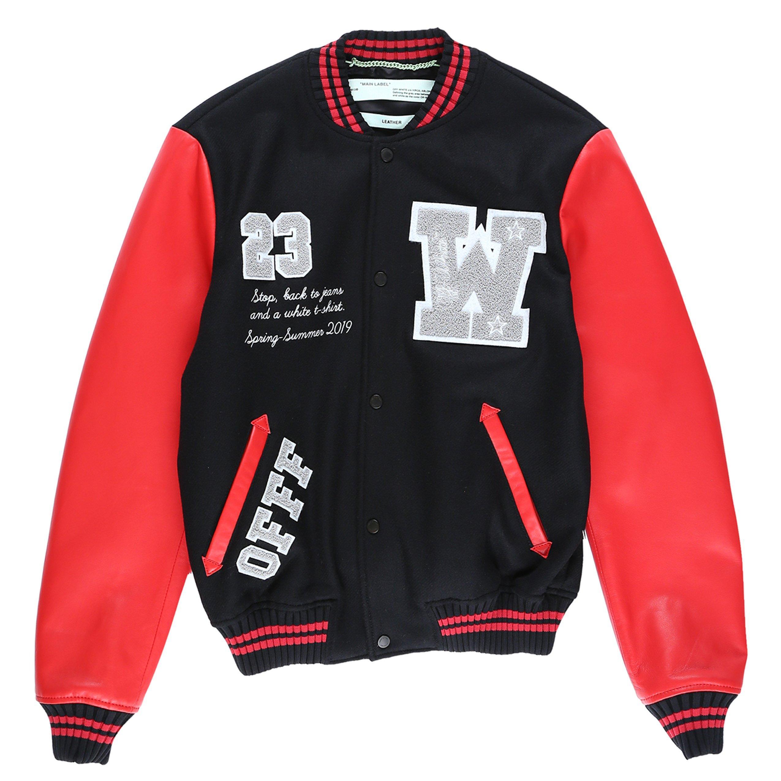 d926bc08a6d0 Off-White c o Virgil Abloh. Men s Skinny Luxury Varsity Letterman Jacket.  From  2
