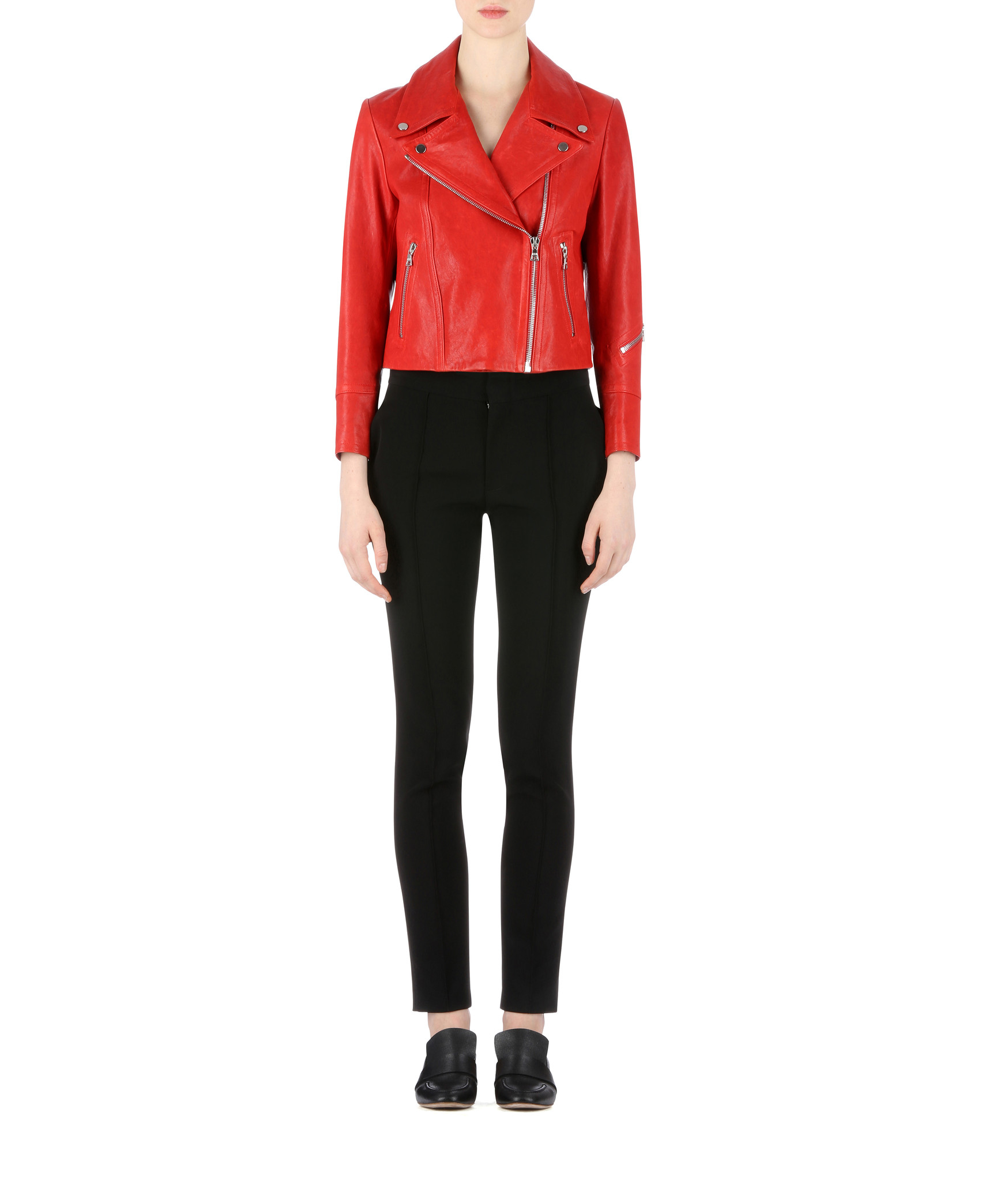 yigal azrou l solid leather jacket in red lyst. Black Bedroom Furniture Sets. Home Design Ideas