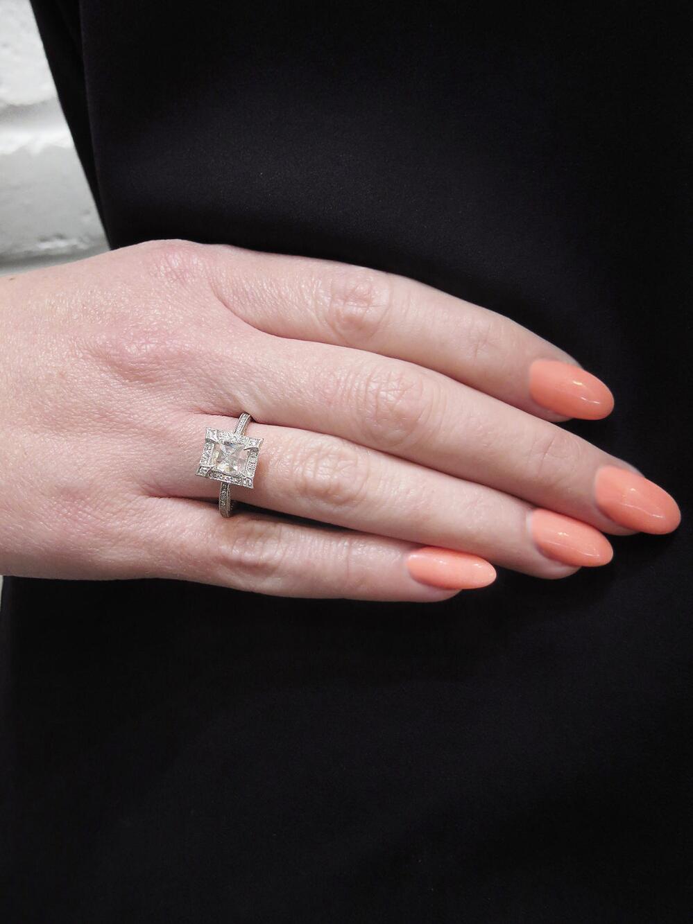 Lyst - Cathy Waterman Pavé Frame Emerald Cut Diamond Ring