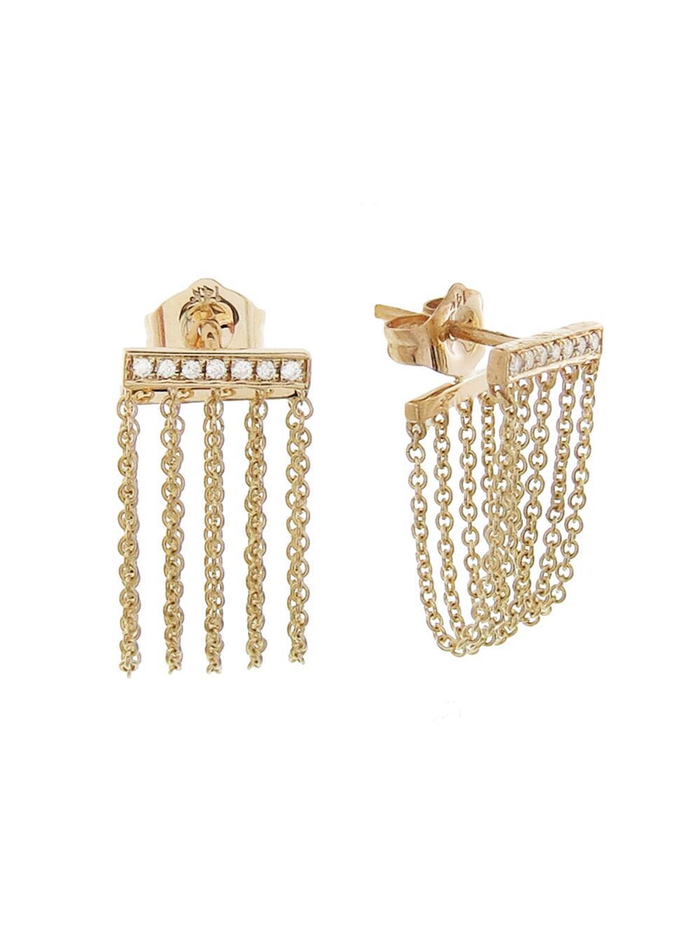 Sydney Evan Baguette Diamond Chain Drop Earring UmxPfKLSO