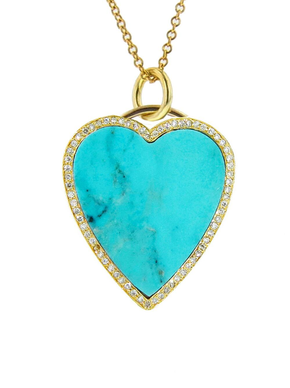 Jennifer Meyer Womens Diamond & Turquoise-Inlaid Heart Pendant Necklace 3QkTMvyJj