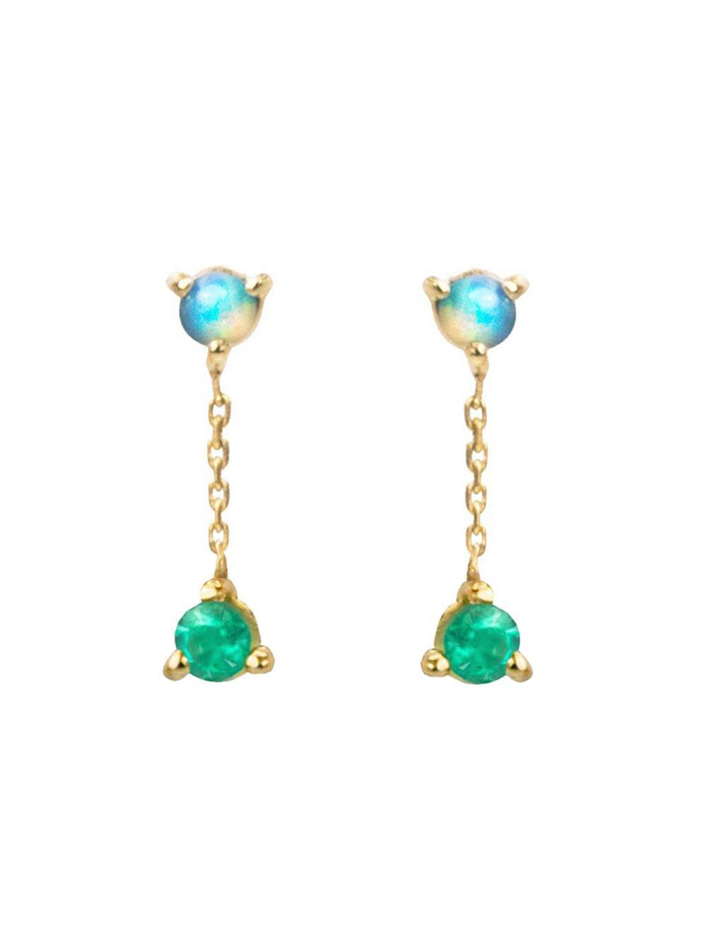 Wwake Women S Small Two Step Opal And Emerald Chain Stud Earrings