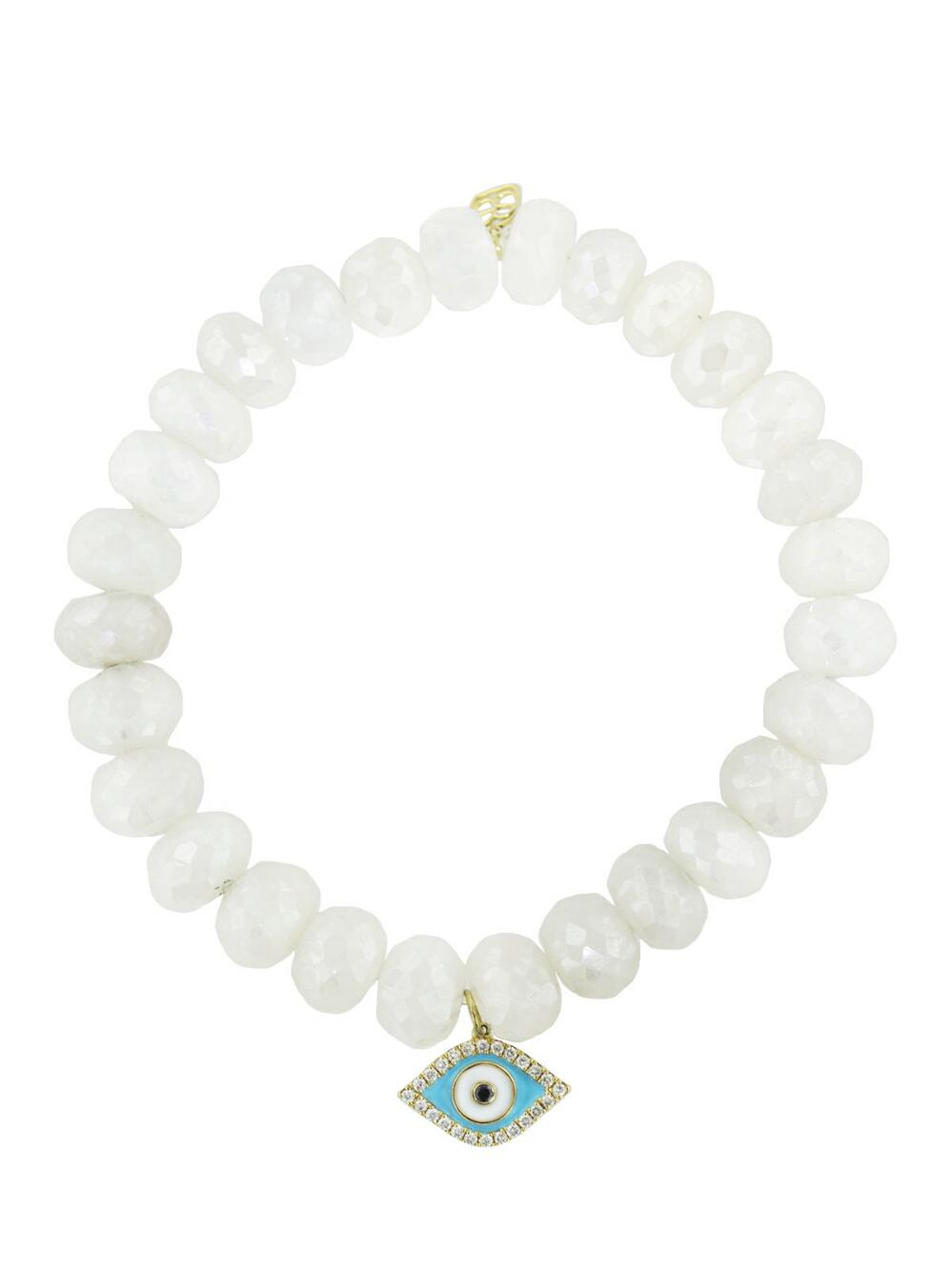 Sydney Evan 10mm Faceted Gray Chalcedony Bead Bracelet with 14k Gold Love Charm kWq86aG4