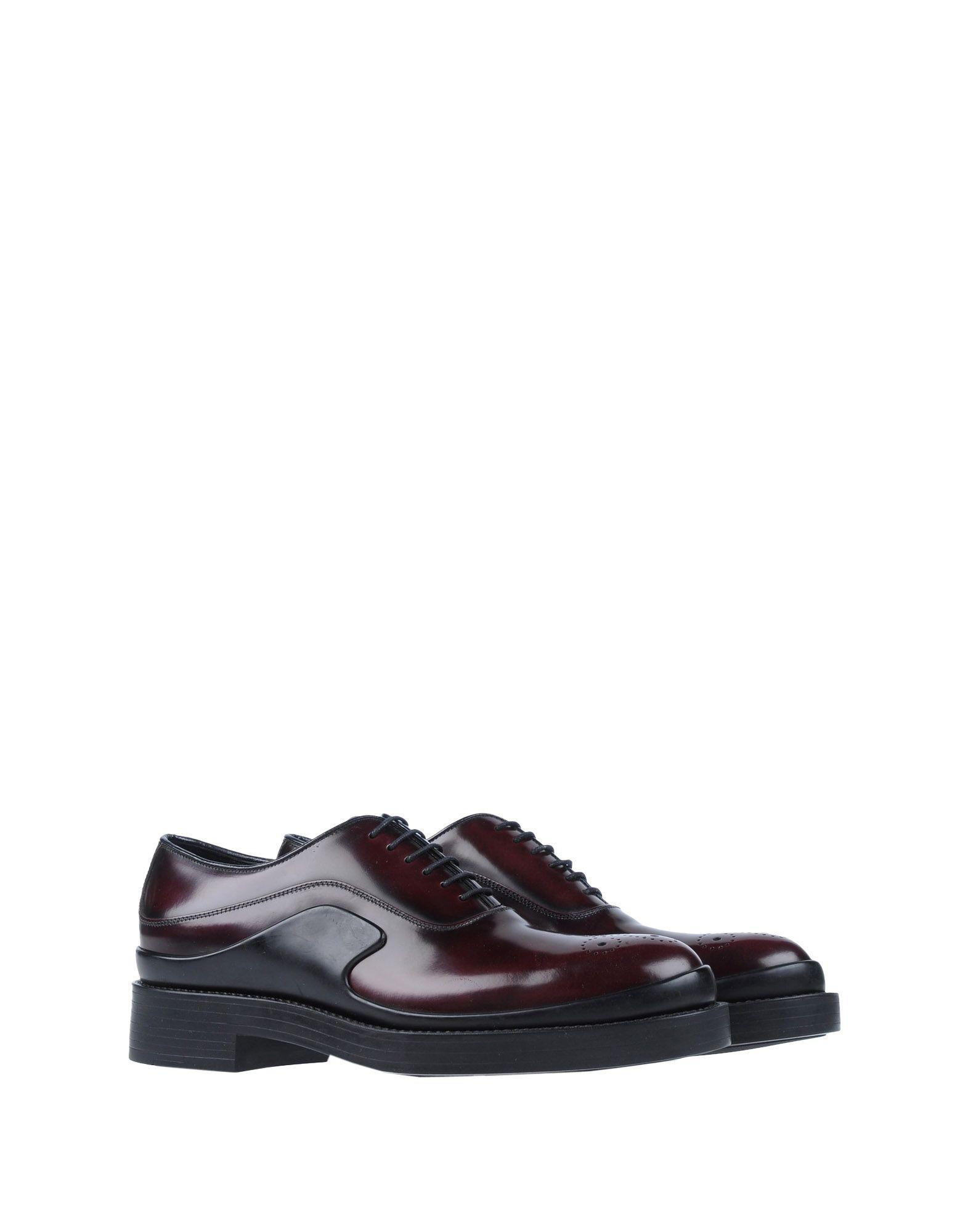 Prada Lace Up Leather Shoe With Lug Sole