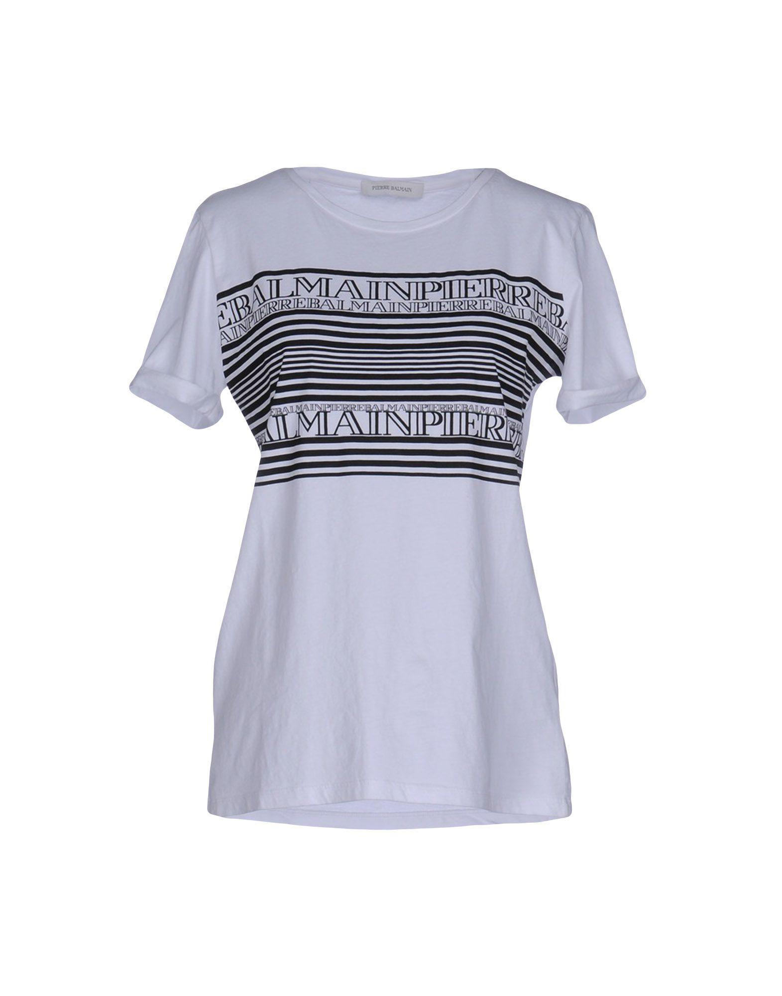 Lyst balmain t shirt in white for Balmain white logo t shirt