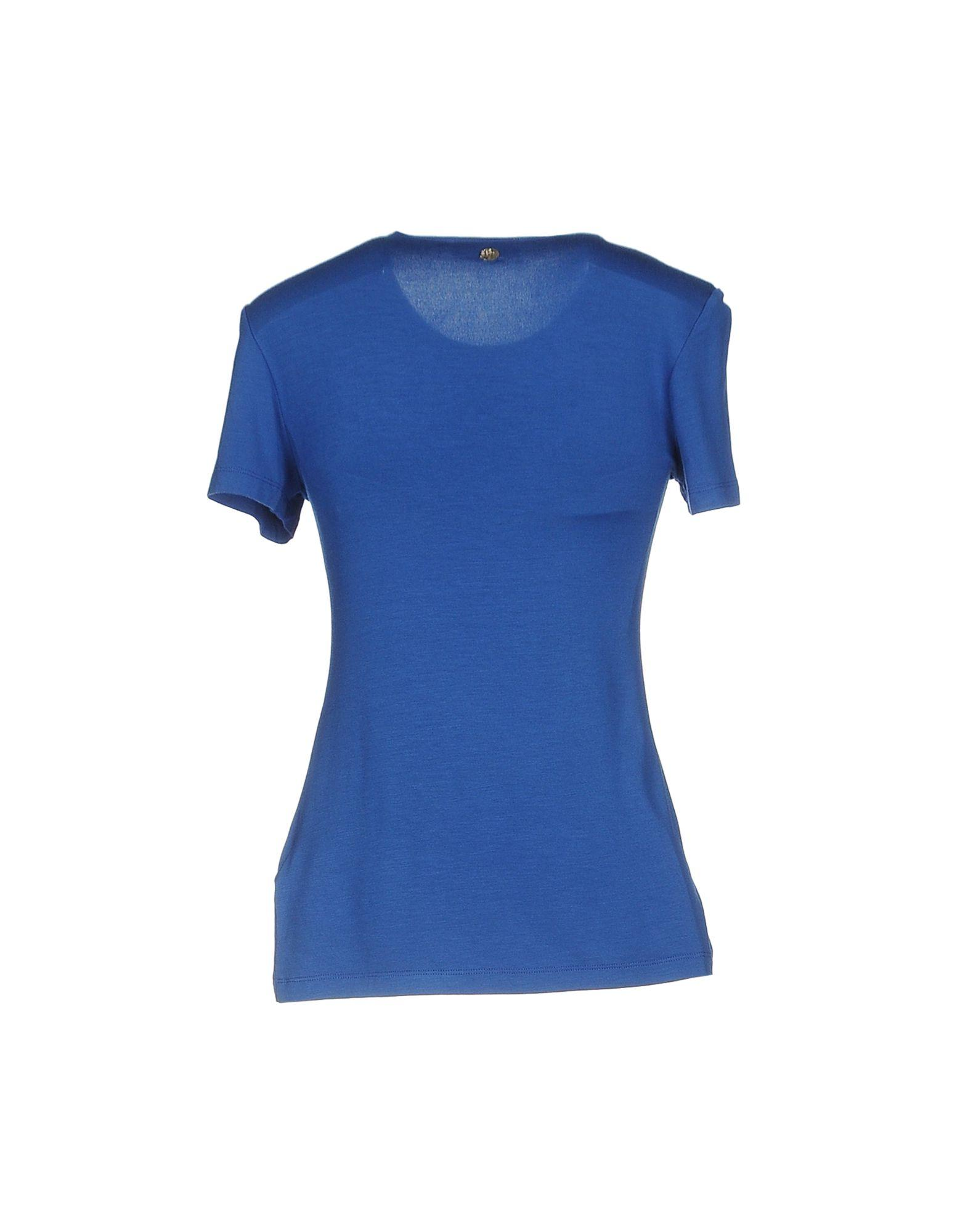 Lyst versace t shirt in blue for Blue and white versace shirt