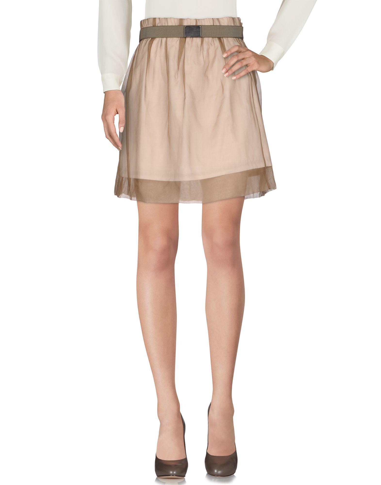 807c757b5 Brunello Cucinelli Knee Length Skirt in Natural - Lyst