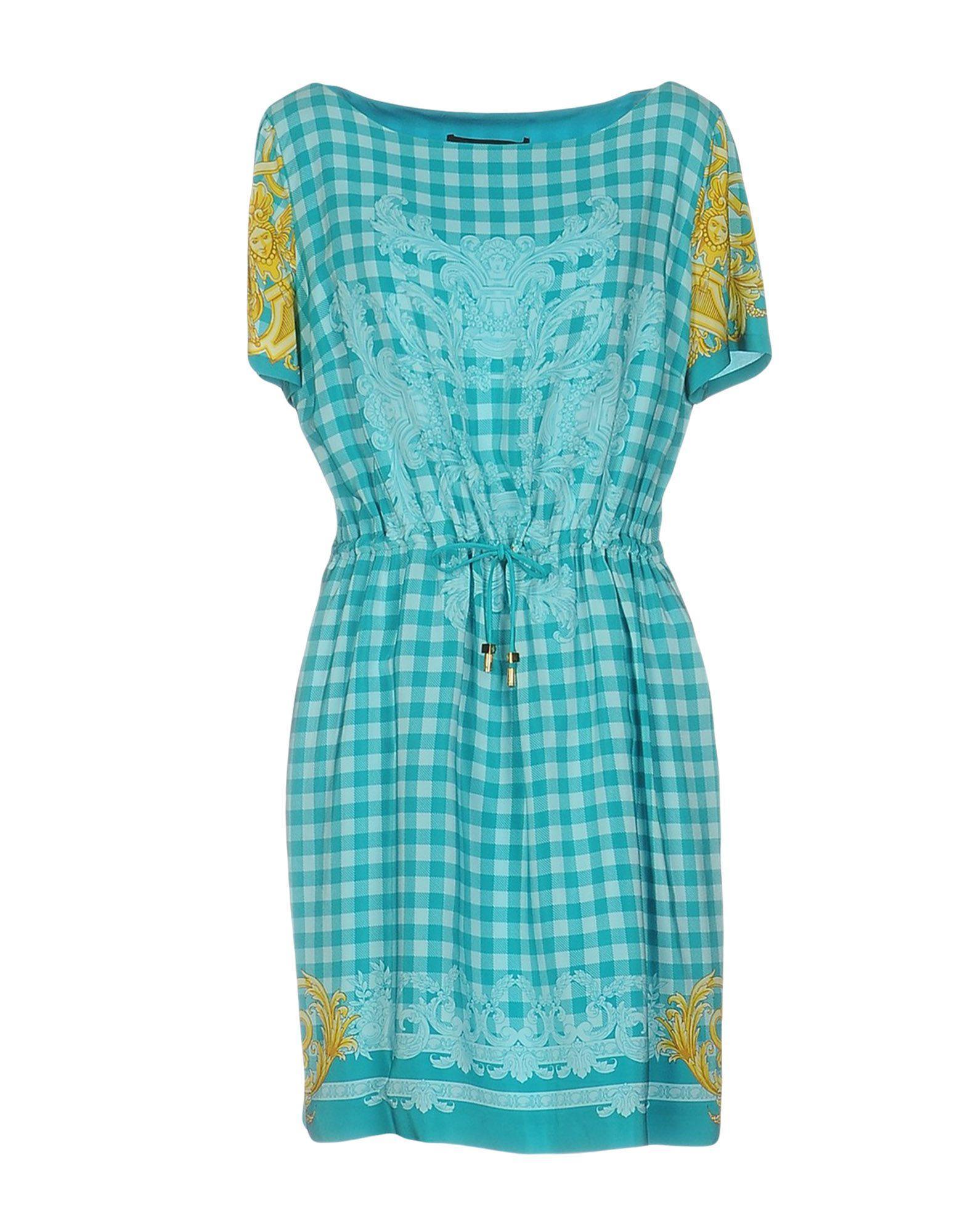 versace short dress in blue lyst