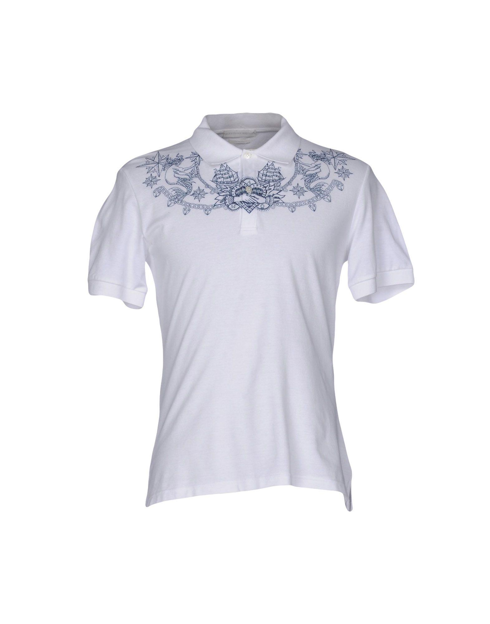 Lyst alexander mcqueen polo shirt in white for men for Alexander mcqueen shirt men