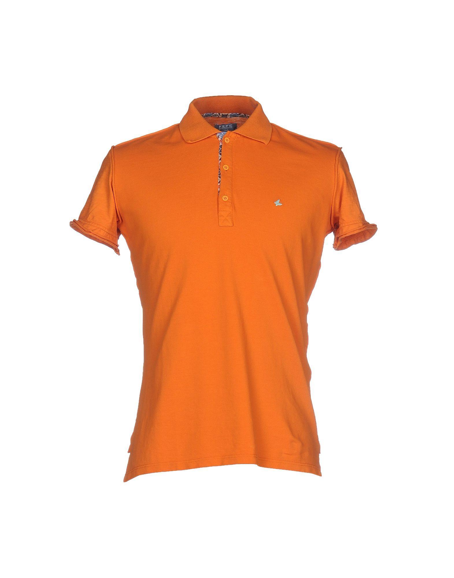 Fefe polo shirt in orange for men lyst for Orange polo shirt mens