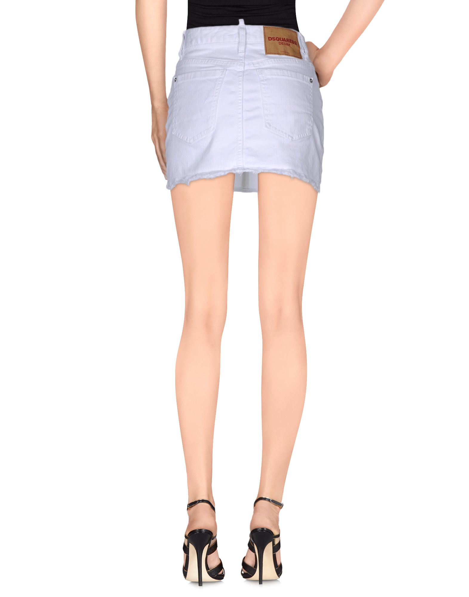 dsquared 178 denim skirt in white lyst