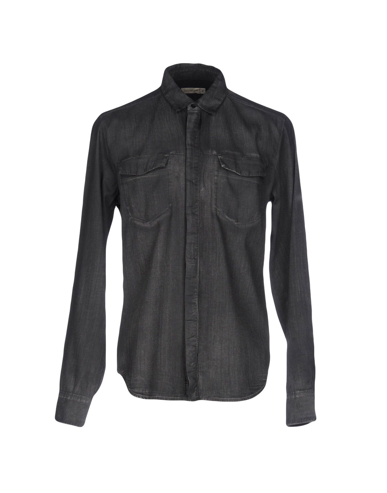 calvin klein jeans denim shirt in black for men lyst. Black Bedroom Furniture Sets. Home Design Ideas