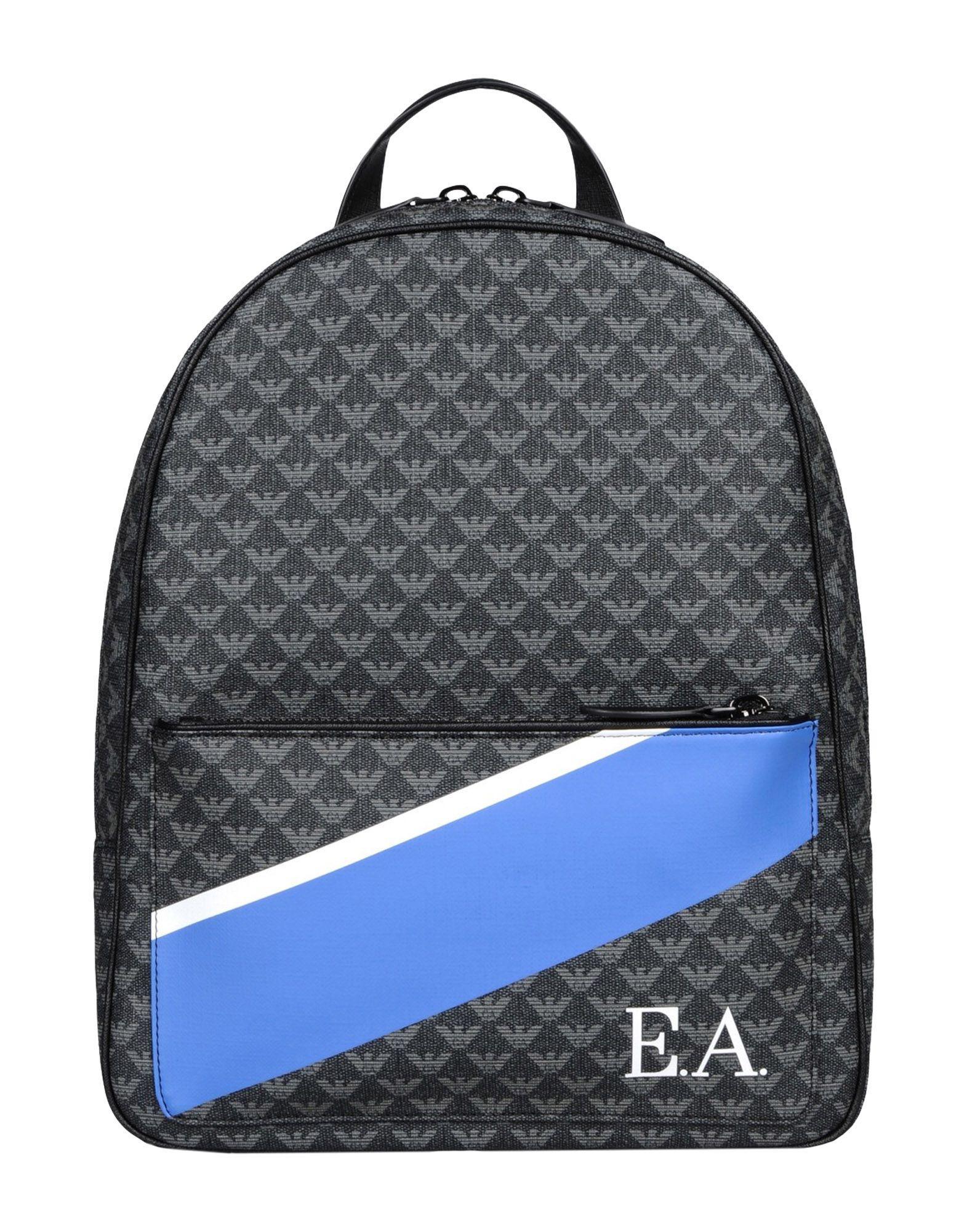 Emporio Armani All Over Pvc Logo Backpack W  Painted Stripe in Gray ... bdf76f623e896