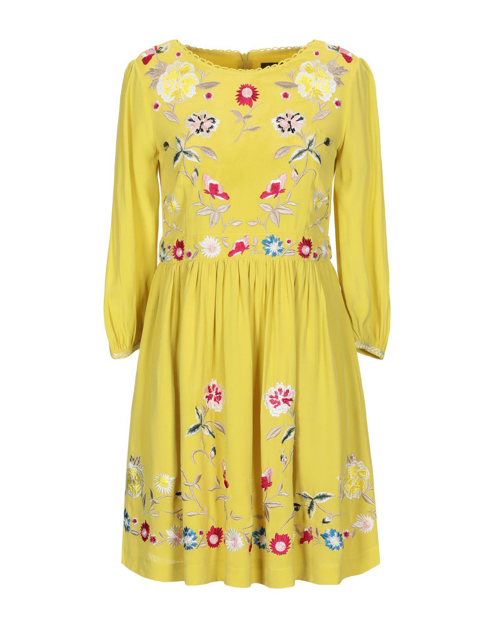 c3a365de7412 French Connection Floral Embroidered Mini Dress in Yellow - Save 14 ...