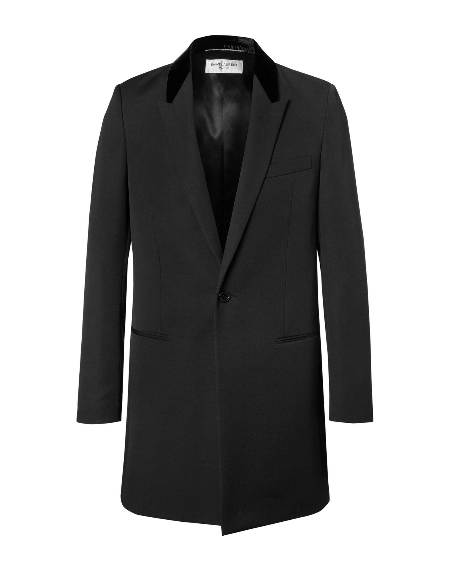 16968086a579a Lyst - Saint Laurent Overcoat in Black for Men