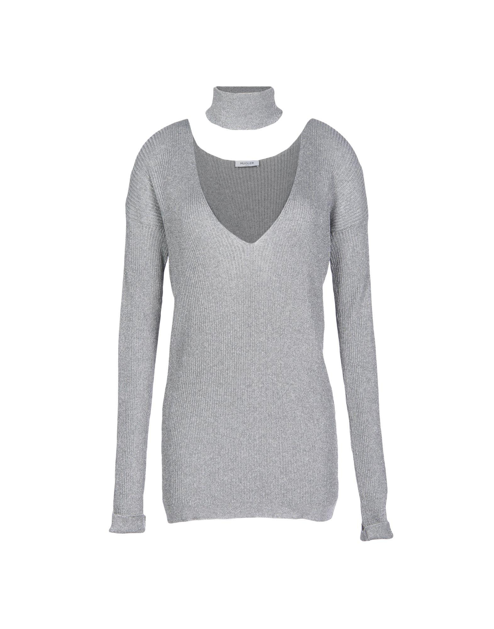 Clearance Outlet Locations Discount Cheap Online Mugler Woman Metallic Ribbed Stretch-knit Turtleneck Sweater Silver Size XL MUGLER Buy Cheap Enjoy Clearance From China i2mmJQ
