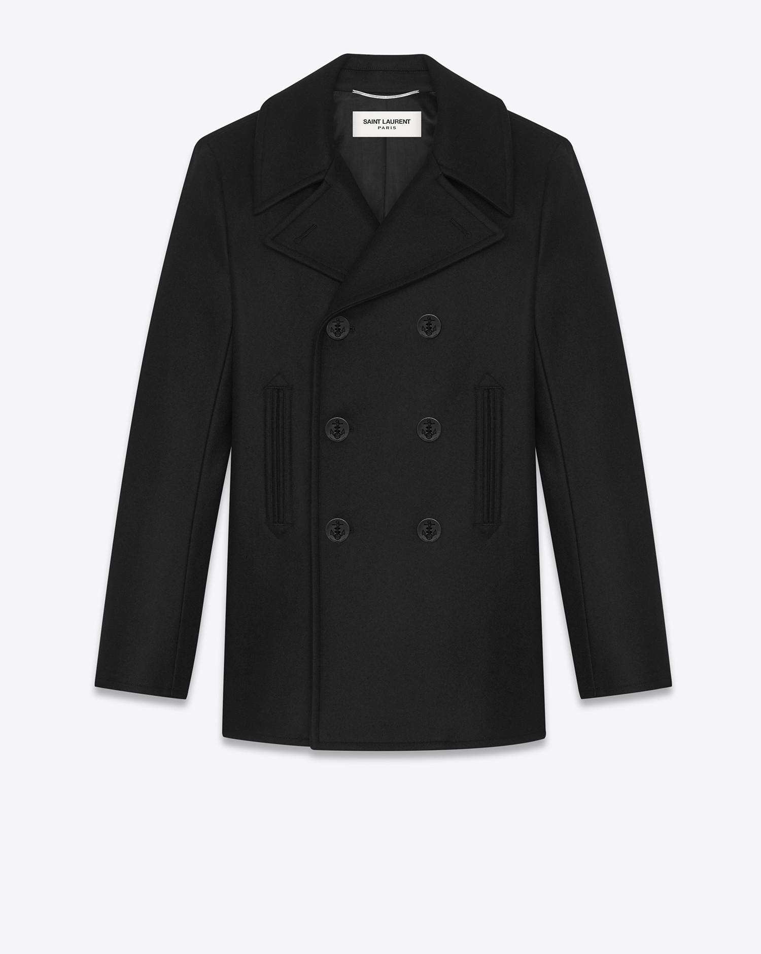 Outlet Extremely Cheap New Saint Laurent chevron caban coat - Black Latest Cheap Price 2uGE91