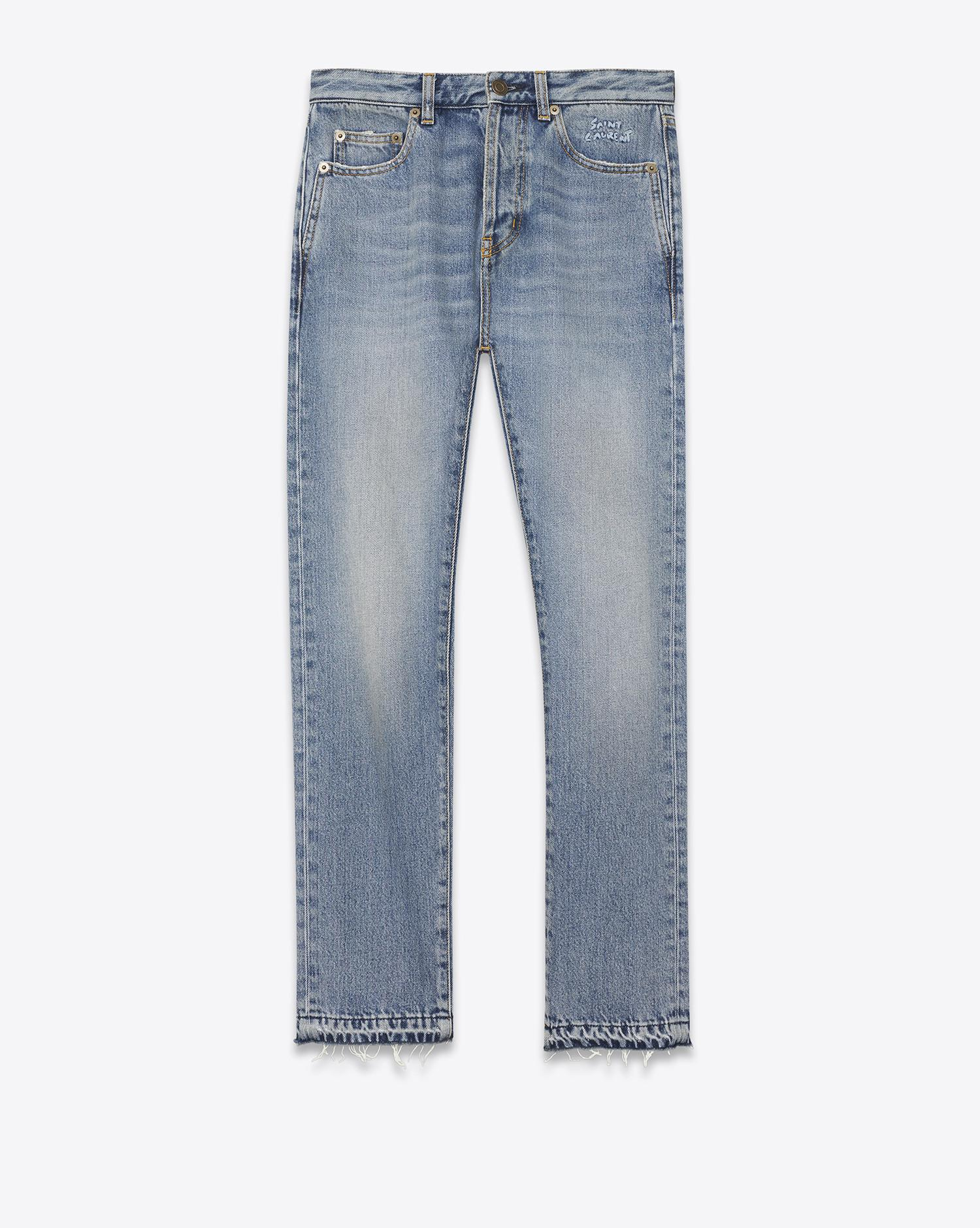 Cheap Sale Collections Free Shipping Get To Buy embroidered slim jeans - Grey Saint Laurent Shop For Online Low Cost GXcrknWB