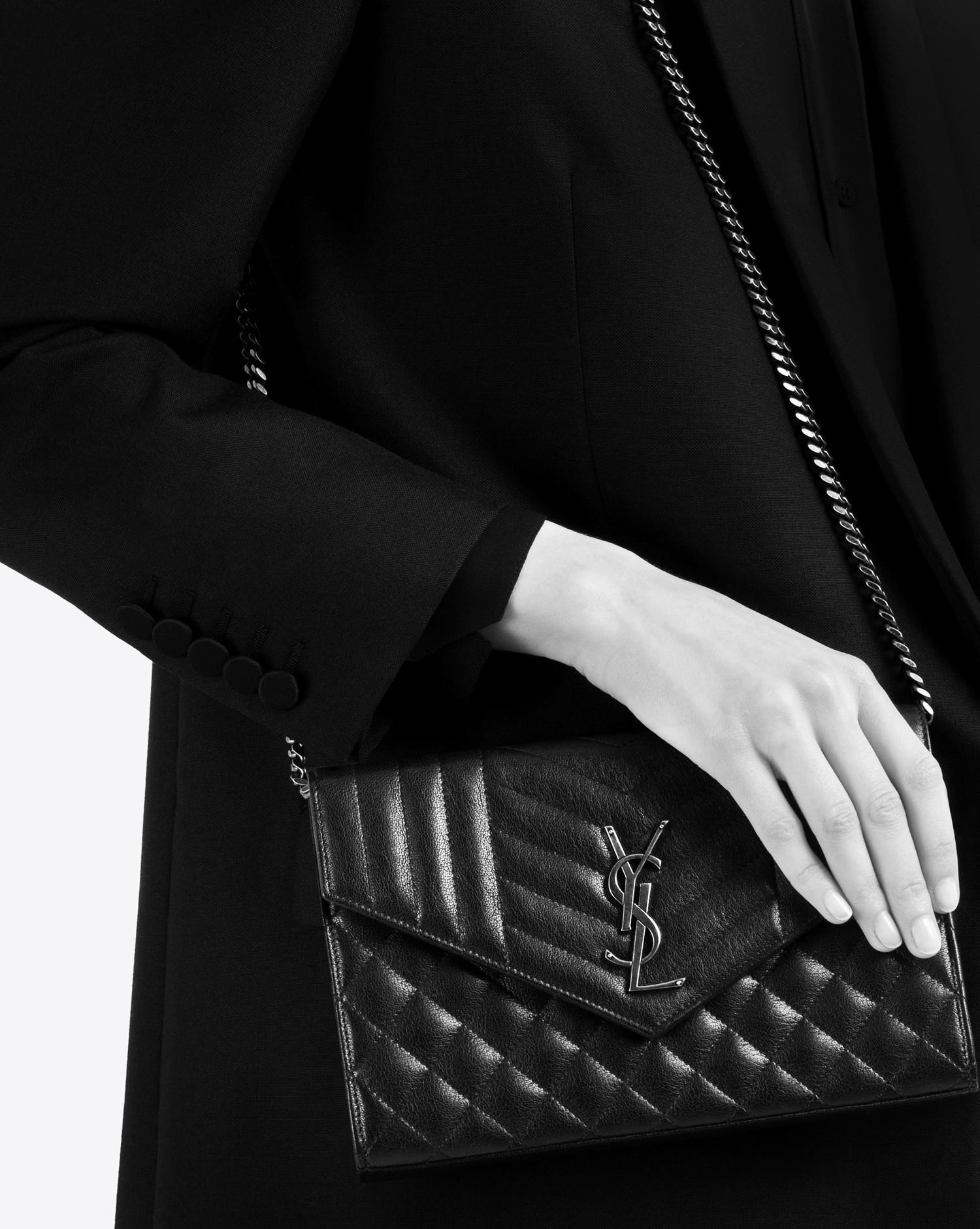 Lyst - Saint Laurent Monogram Chain Wallet In In Black Mixed ... 2316ffd5bfb55