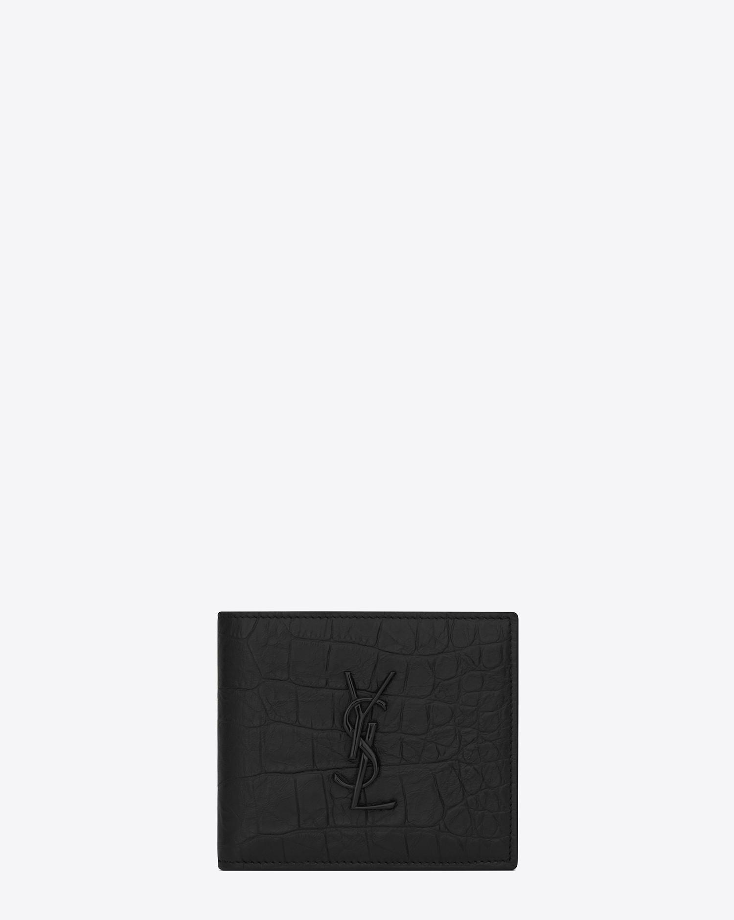 2bf3c22cea Lyst - Saint Laurent Monogram East west Wallet In Crocodile Embossed Leather  in Black for Men