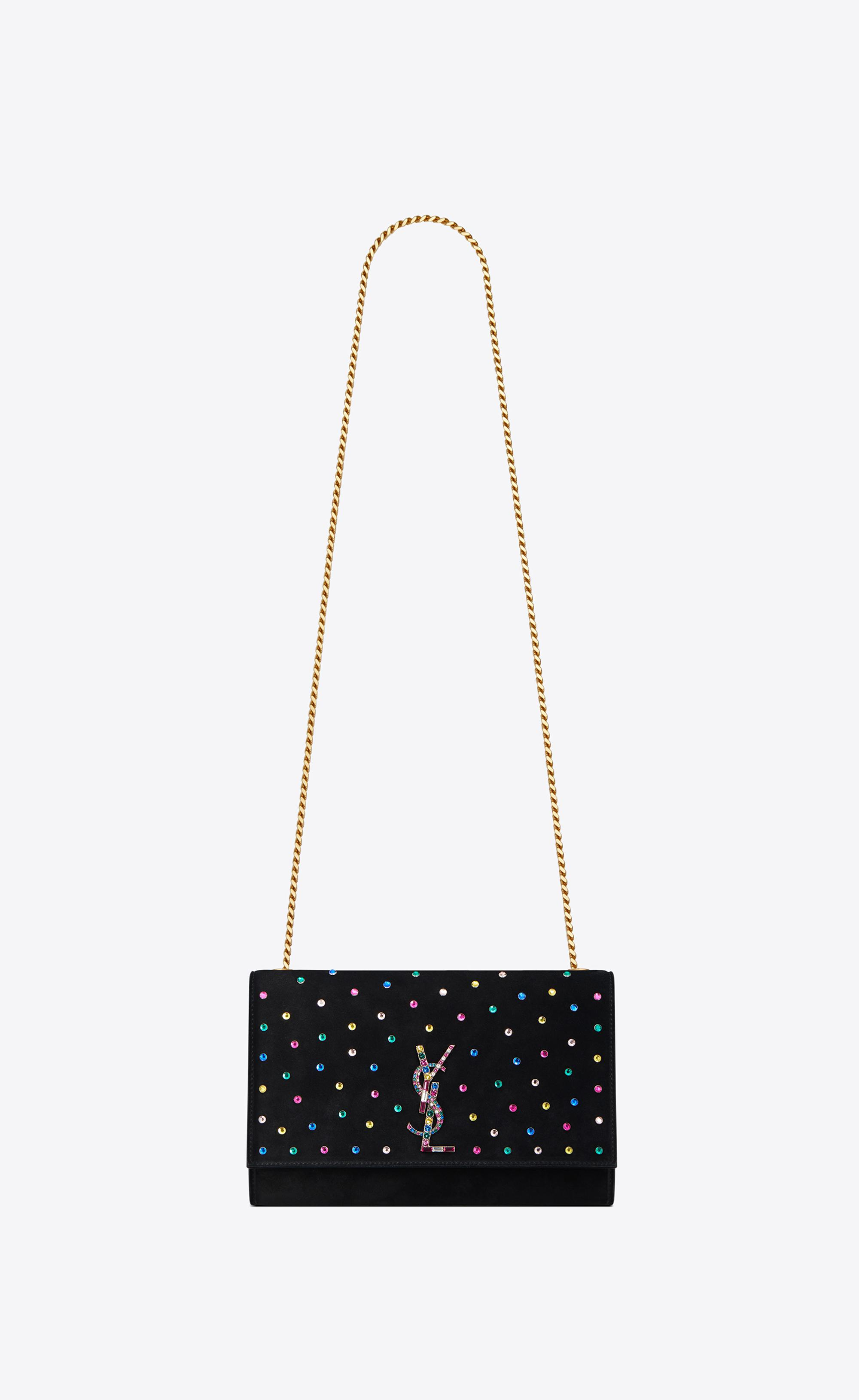 Saint Laurent - Medium Kate Chain Bag In Black Suede And Multicolored  Crystals - Lyst b9ded978492ff