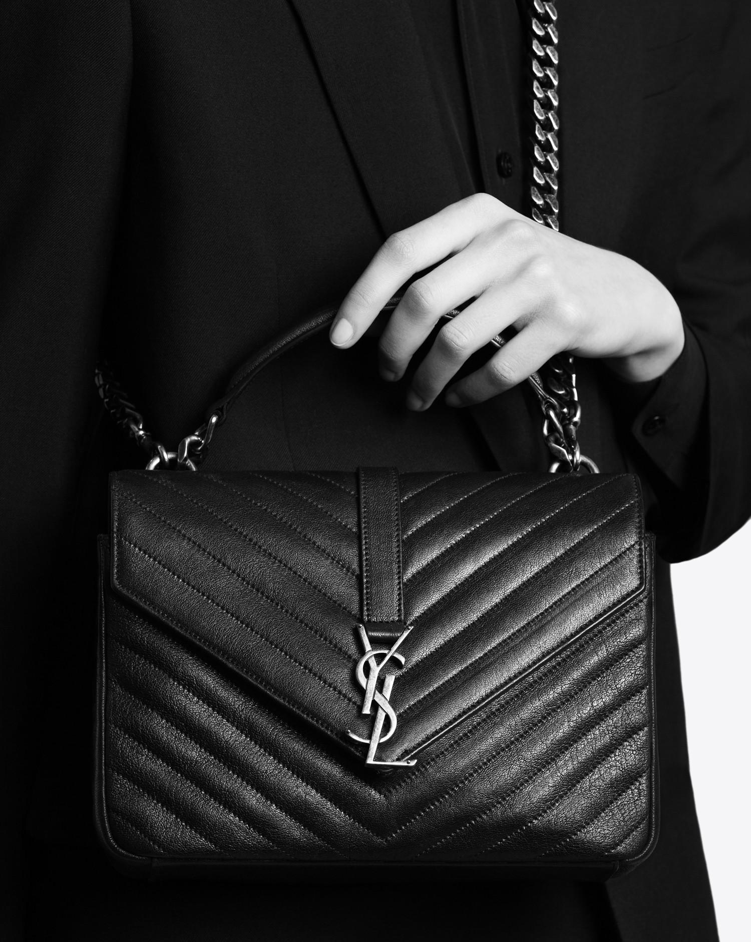 7ead25d92e62 Saint Laurent - Black Monogram College Medium Quilted Leather Shoulder Bag  - Lyst. View fullscreen
