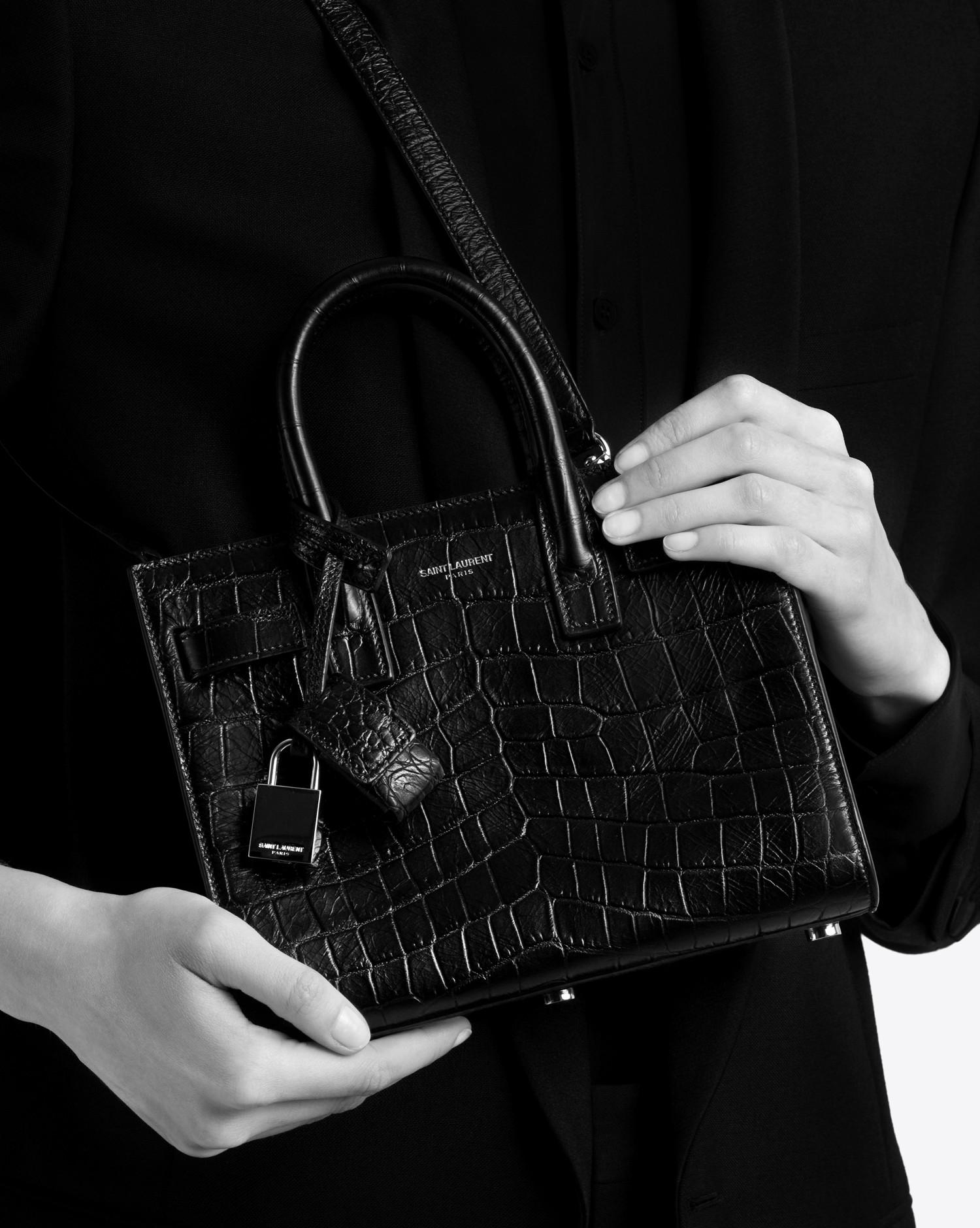 391347e385 Saint Laurent - Black Classic Sac De Jour Nano In Embossed Crocodile Shiny  Leather - Lyst. View fullscreen