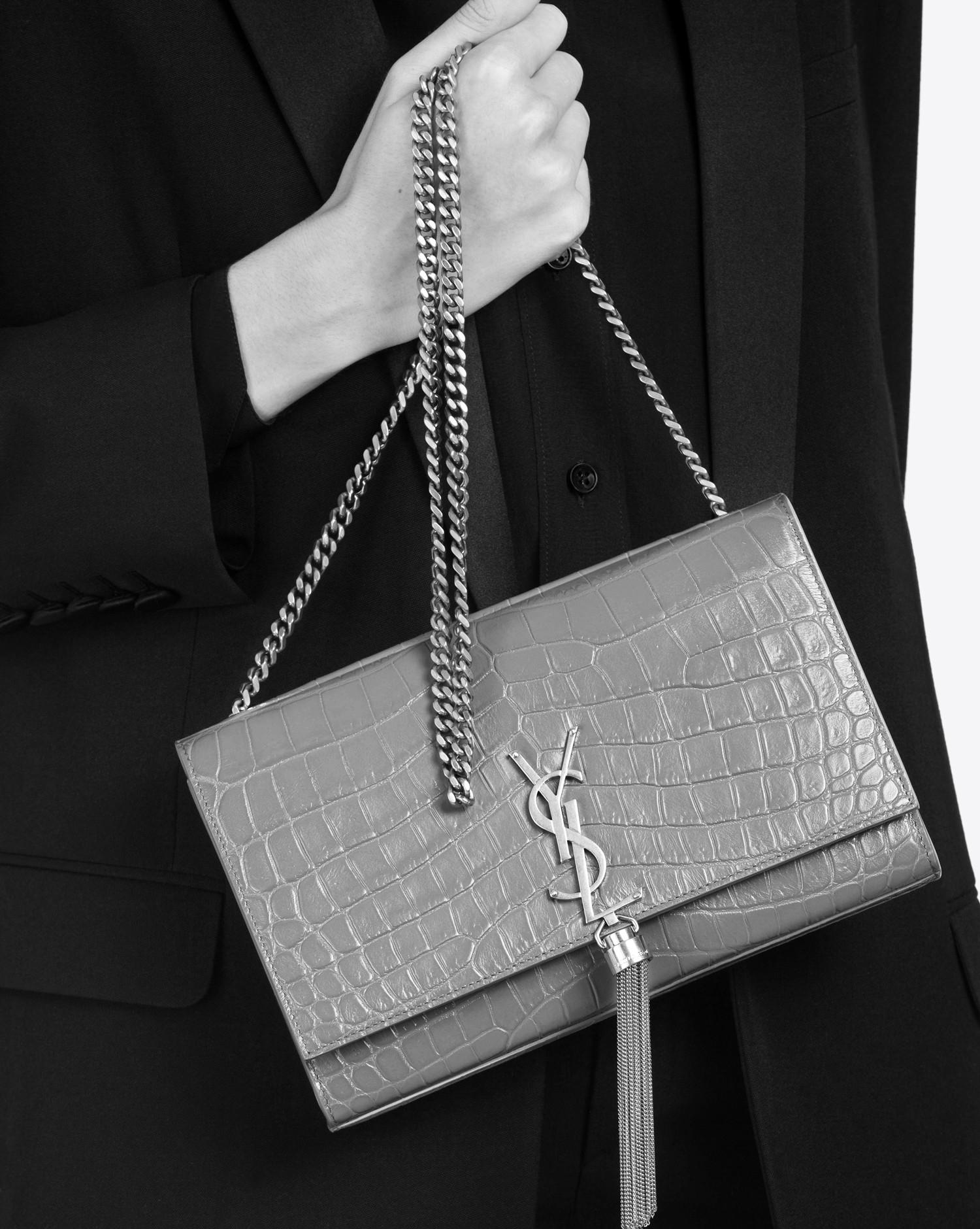 8f76d0a3d02f Lyst - Saint Laurent Classic Medium Kate Monogram Tassel Croc ...