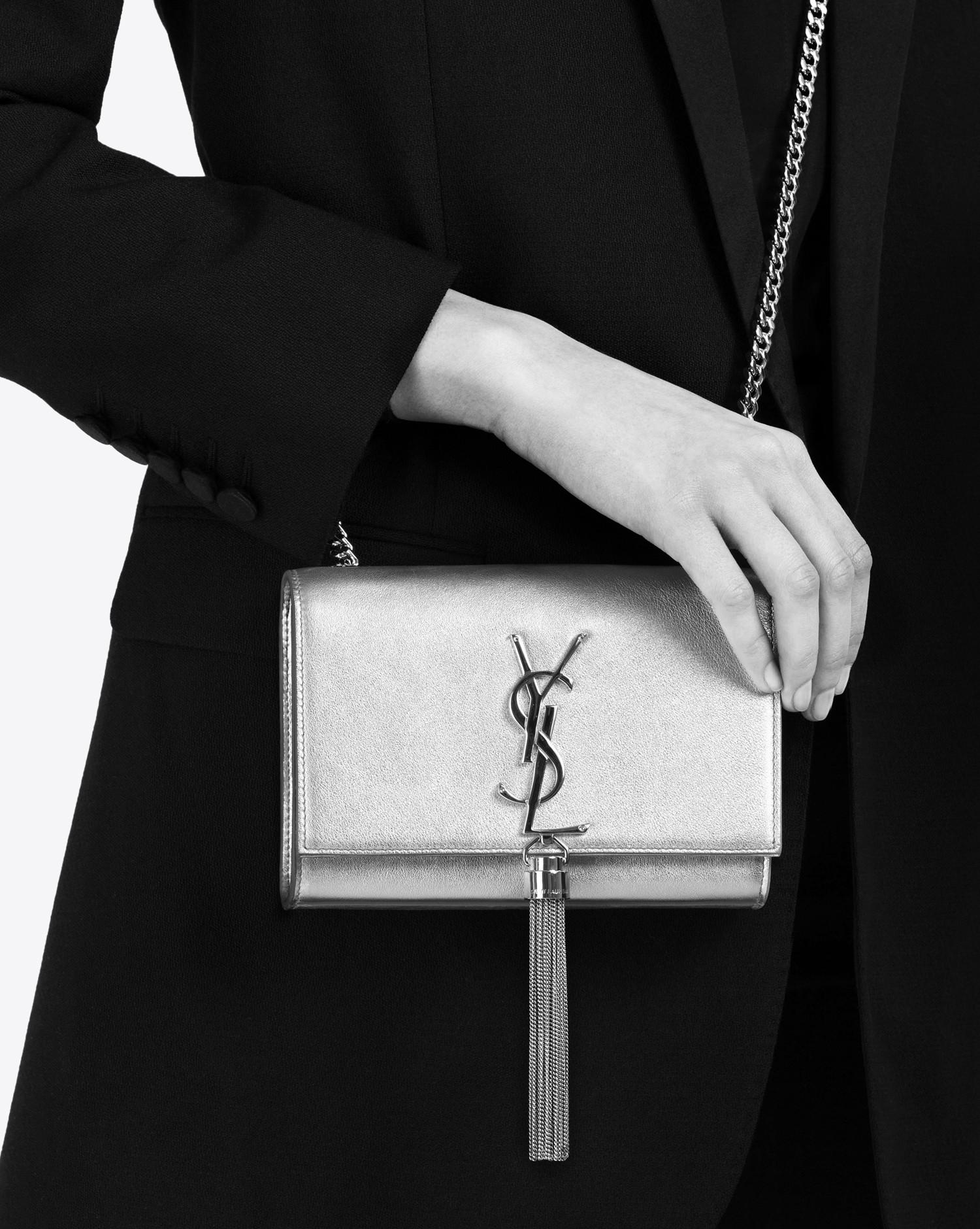 sacs handbags - Saint laurent Classic Small Kate Monogram Tassel Satchel In Silver ...