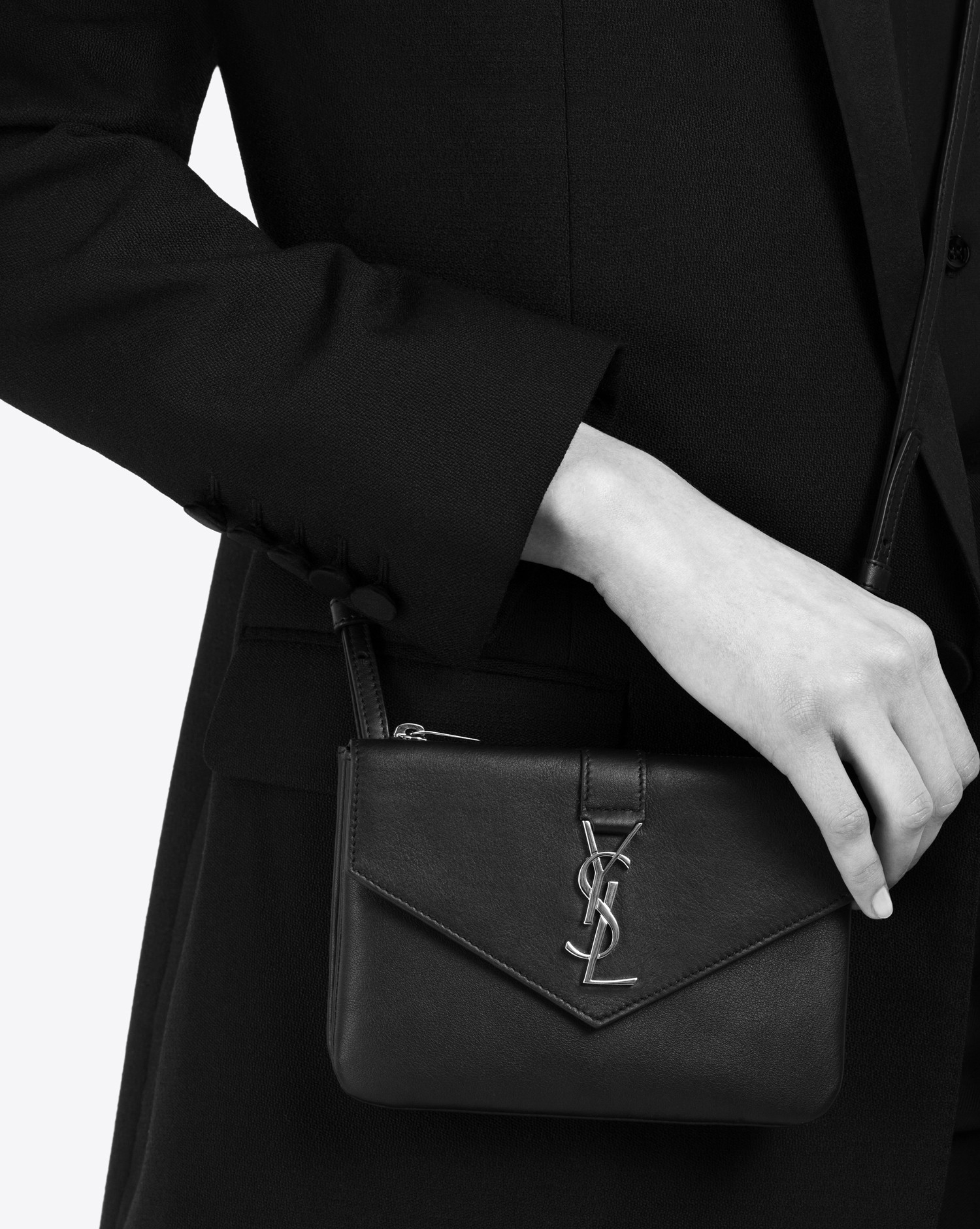 358ff688f477 Lyst - Saint Laurent Ysl Tri-pocket Bag In Dove White Leather