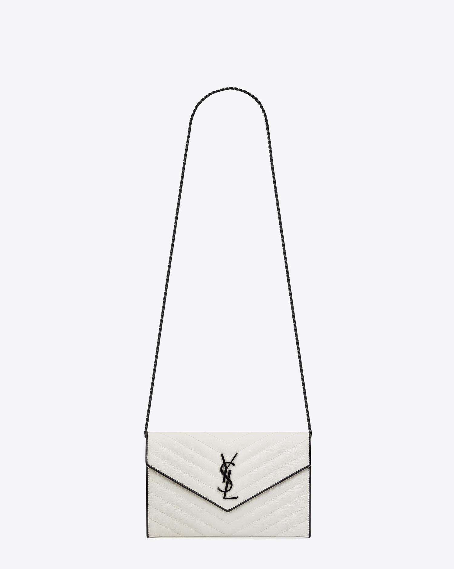 0f7b566246fc Lyst - Saint Laurent Monogram Chain Wallet In Dove White And Black ...