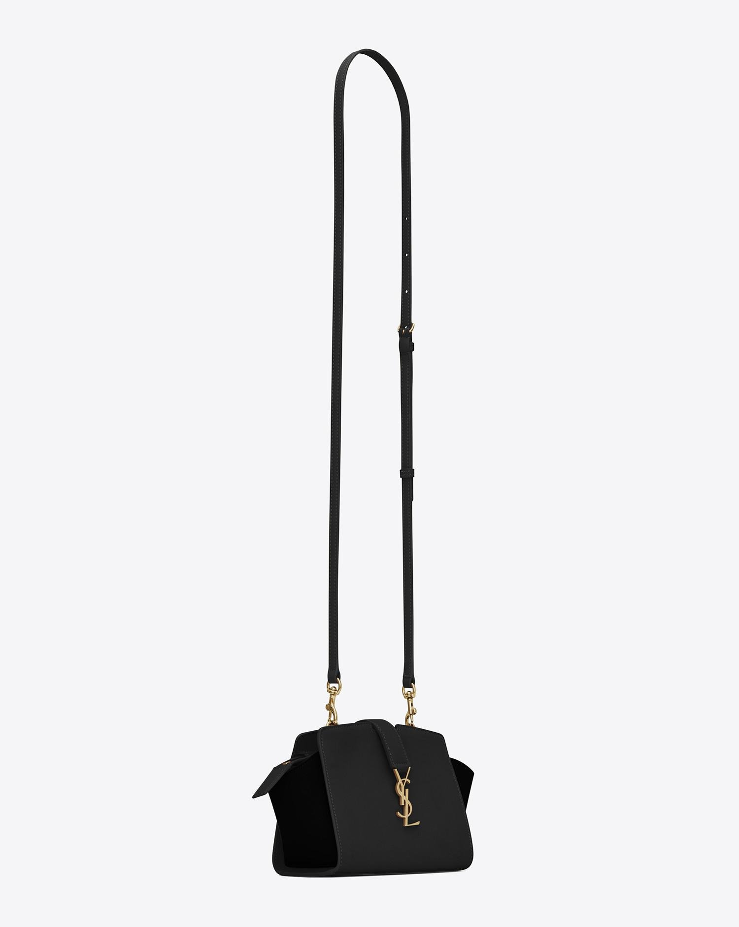 ebb135df2483 Lyst - Saint Laurent Toy Ysl Cabas Bag In Black Leather And Suede in ...
