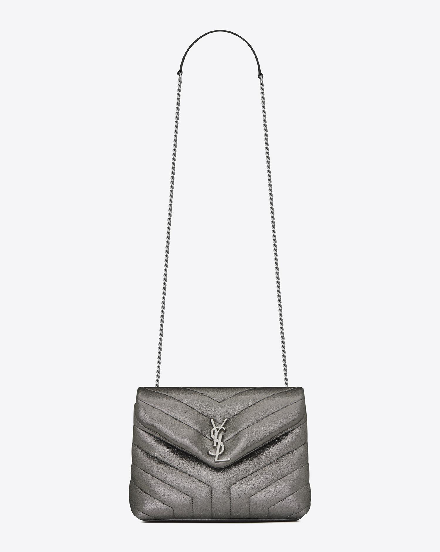 cabfe50f16f157 Saint Laurent Small Loulou Monogram Chain Bag In Gunmetal And Black ...