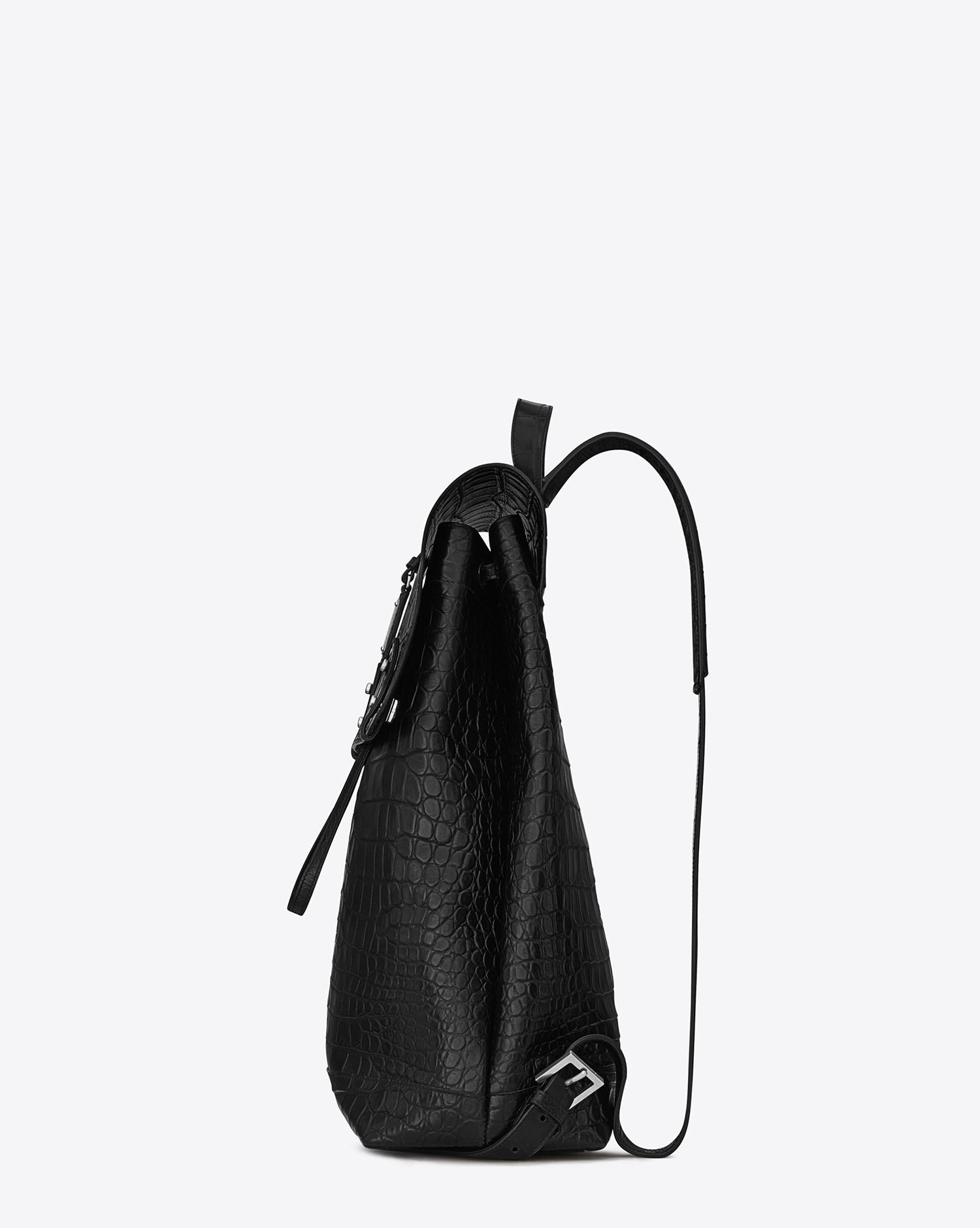 Saint Laurent. Men s Black Sac De Jour Backpack In Crocodile Embossed  Leather 1fc83f981340c